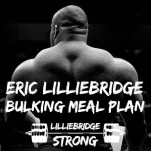 Black and white image of weight lifter Eric Lilliebridge's back and text 'bulking meal plan'